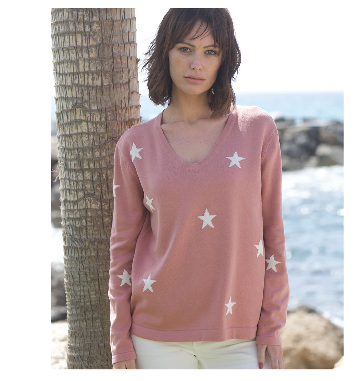 Stars V Neck Sweater